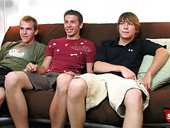 Three straight boys have a circle jerk.